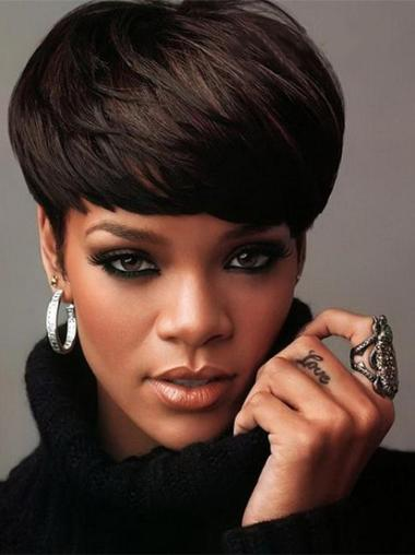 Capless Black Boycuts Durable Does Rihanna Wear Wigs
