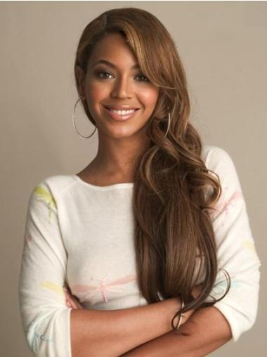 "Brown Wavy 24"" Beyonce Brazilian Wigs Human Hair With Bangs"