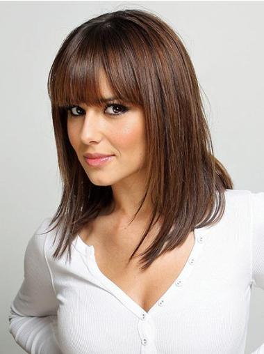 Ideal Auburn Straight Shoulder Length With Bangs Lace Front Wigs Real Human Hair