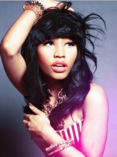 Black With Bangs Shoulder Length Hairstyles Nicki Minaj Style Wigs