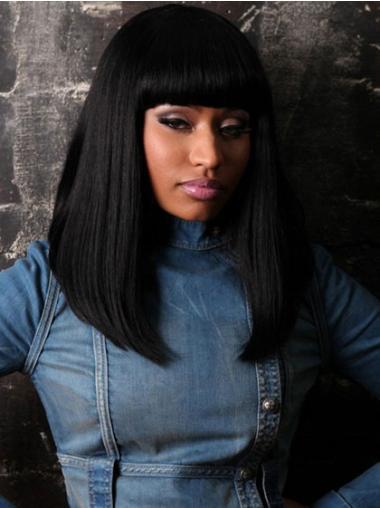 Capless Black With Bangs Stylish Nicki Minaj Inspired Wig