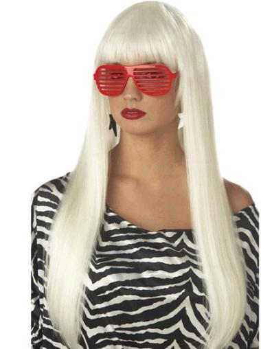 Straight Long Synthetic 24 Inches Stylish L Lady Gagas Wig Collection