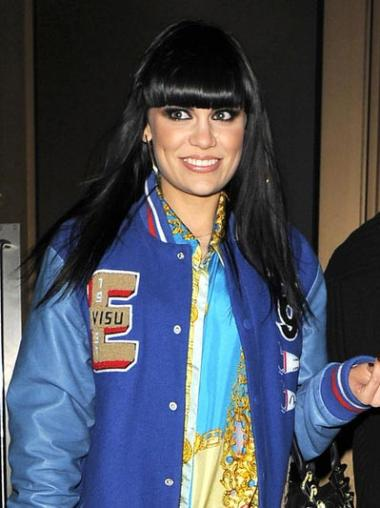 """18"""" Long Straight Black Jessie J Wigs Human Hair Lace Wigs With Bangs"""