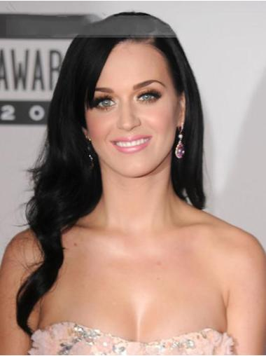 """Modern 20"""" Lace Front Layered Katy Perry Human Hair Long Black Wig"""