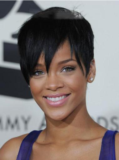 Capless Boycuts Cropped Exquisite Rihanna Black Celebrity Wigs For Sale