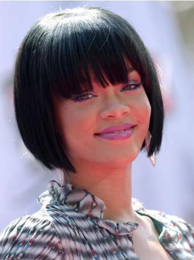 "10"" Indian Full Lace Bobs Chin Length Fabulous Rihanna Human Hair Wigs Black Hair"