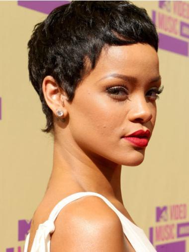 Capless Boycuts Cropped Ideal Rihanna Black Celebrity Style Wigs