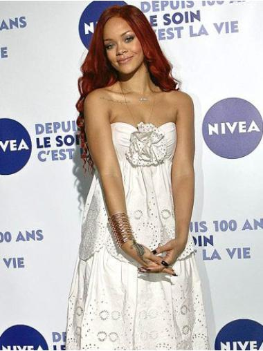 Capless Red Without Bangs Gorgeous Lovely Beautifull Human Hair Wig Rihanna