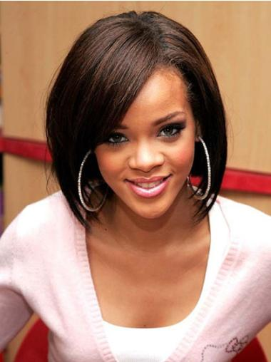 "12"" Brown Chin Length High Quality Rihanna Lace Front Human Bob Hair Wigs"