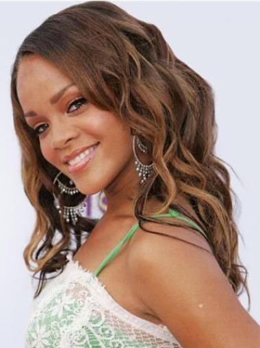 "18"" Without Bangs Brown Long Online Rihanna Brazilian Human Hair Lace Front Wigs"