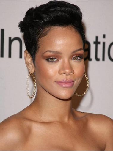 "Best 6"" Capless Boycuts Cropped Rihanna Human Hair Black Affordable Wigs"