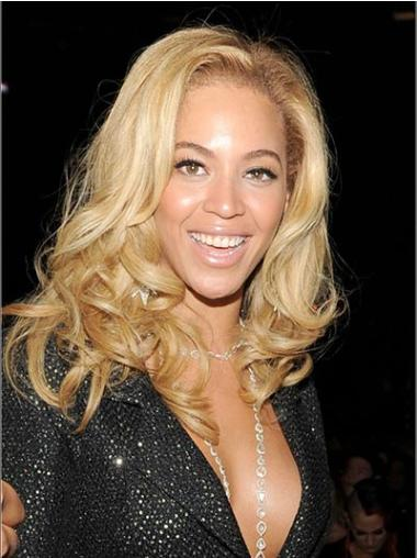 "Without Bangs Wavy 14"" Beyonce Blonde Remy Human Hair Wigs"