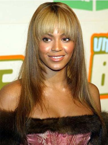 Capless With Bangs Long Beyonce Wigs Human Hair