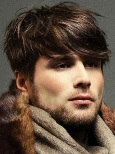 100% Hand-Tied Straight Trendy Mens Realistic Wigs
