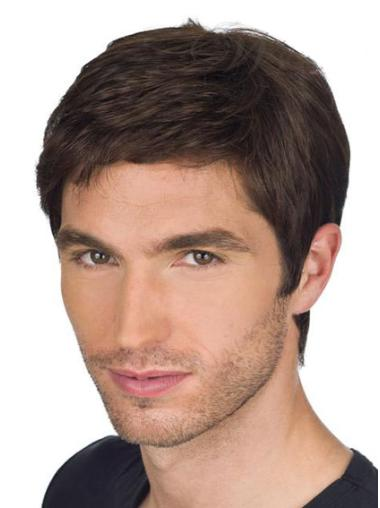 Great 100% Remy Human hair Cropped Brown Straight Men Wigs
