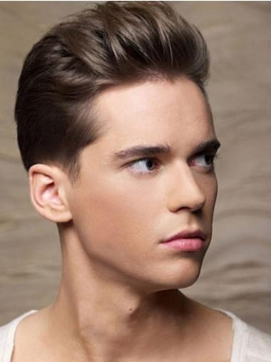 Cropped 100% Hand-Tied Sassy Straight Toupees For Men