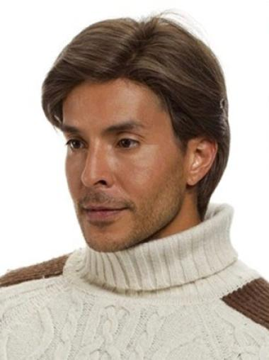 Brown Short Human Hair Wigs Men