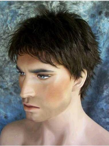 Straight Short Flexibility Black Synthetic Wig For Men