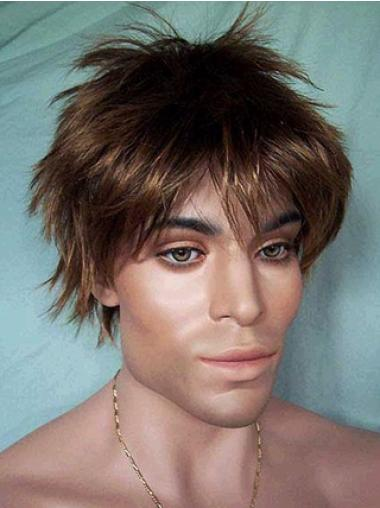 Brown Straight 5 Inches Synthetic Wigs For Men