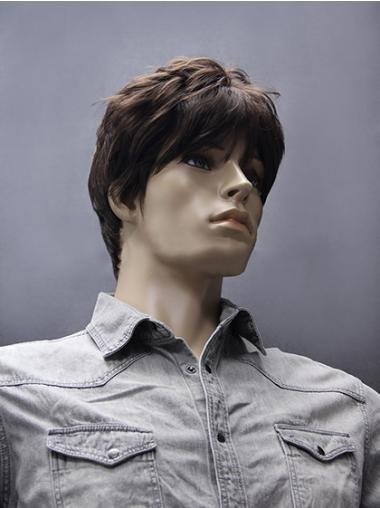 Brown 5 Inches Men Short Straight Synthetic Wig