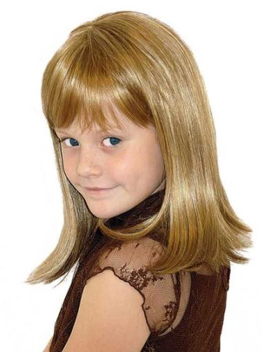 Straight Shoulder Length Synthetic Affordable Lace Wigs Blonde