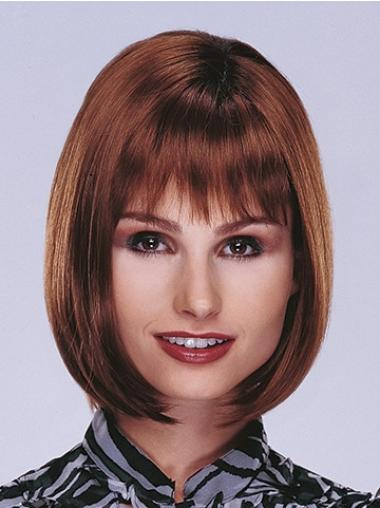 Perfect Synthetic Straight Auburn Bob Lace Wig