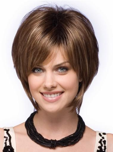 Ideal Capless Brown Short Straight Bob Wig