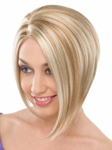 Style Straight Capless Chin Length Bob Wigs Blonde