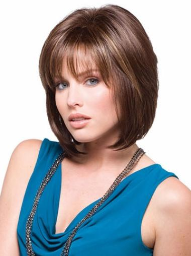 Straight Brown Chin Length Synthetic Bob Hair Styled Wigs