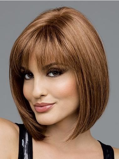 Brown Straight Chin Length Synthetic Discount Short Bob Lace Wigs
