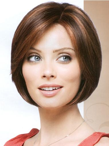Synthetic Straight Auburn Capless Bob Hairstyle Wigs