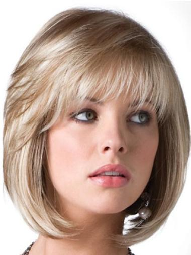 Sassy Synthetic Bobs Chin Length Blonde Elderly Style Wig