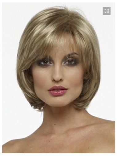 Chin Length Straight Blonde Capless Bob Haircut Wigs
