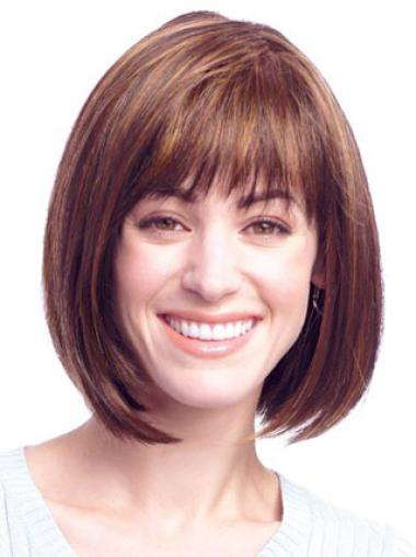 Auburn Chin Length Modern Bob Best Quality Synthetic Lace Front Wigs