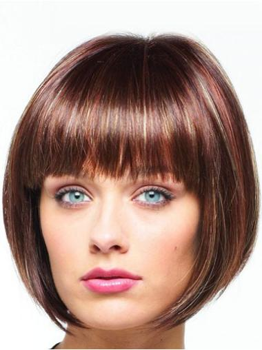 Auburn Chin Length Top Bob Synthetic Front Lace Wigs