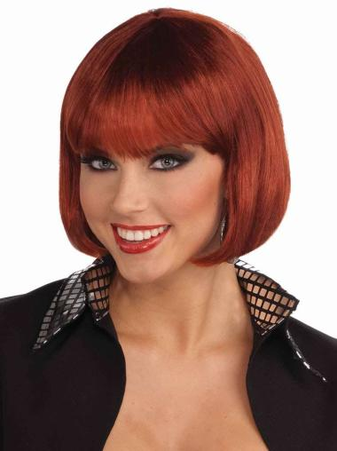 Chin Length Synthetic Red Capless Straight Cut Bob Wig