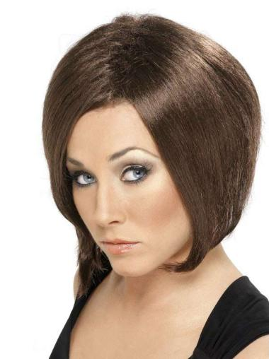 Comfortable Chin Length Brown Straight Trendy Bob Style Wigs