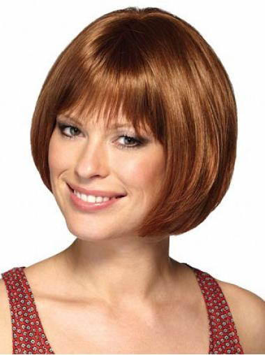 Synthetic No-Fuss Short Auburn Straight Bob Cut Wig