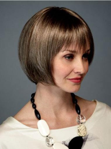 Brown Chin Length Synthetic Perfect Monofilament Wigs