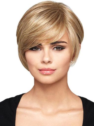 Synthetic Gorgeous Short Straight Cut Bob Blonde Wigs