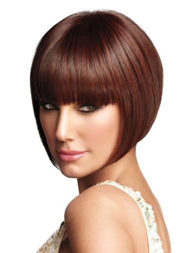 Style Straight Capless Auburn Chin Length Wigs Bob Cut