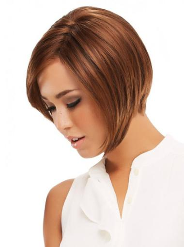 "8"" Straight Monofilament Lace Front Discount Human Hair Wigs"
