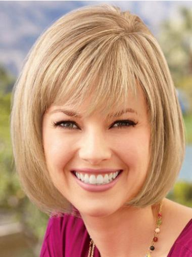 Blonde Chin Length Synthetic Suitable Bob Lace Wig