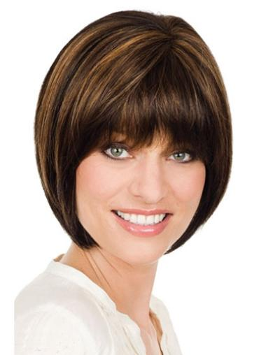 Straight Chin Length Synthetic Fashion Monofilament Wigs
