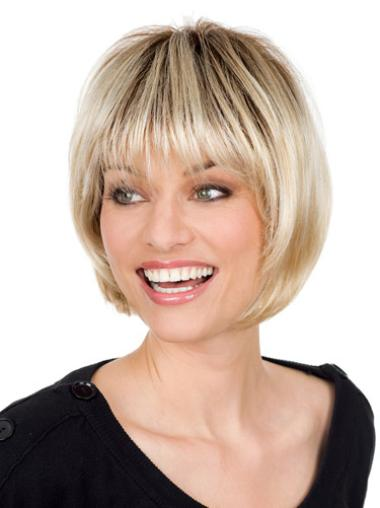 Synthetic Popular Blonde Wigs With Bangs Monofilament