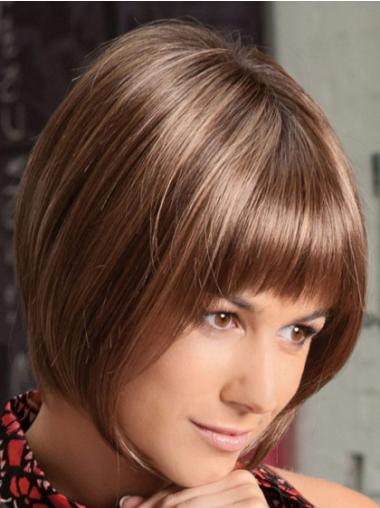 Auburn Chin Length Affordable Bob Glueless Synthetic Lace Front Wigs