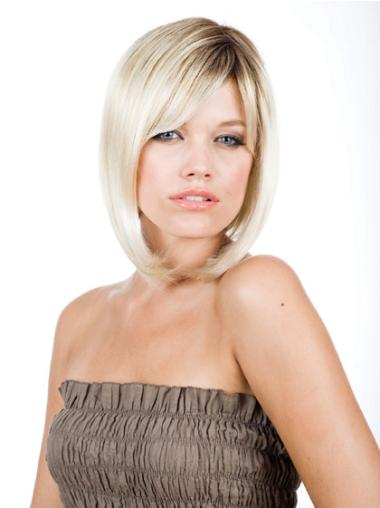 Synthetic Chin Length Blonde 10 Inches Bob Monofilament Wigs