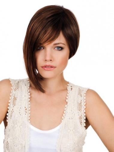Sassy 10 Inches Synthetic Straight Auburn Bob Monofilament Wig With Lace Cap