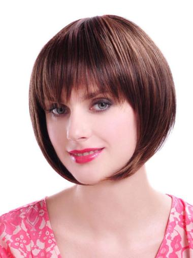 Synthetic Auburn Straight Chin Length Cheap Bob Hairstyles Wigs