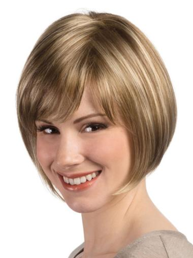 8 Inches Synthetic Straight Blonde Bob Monofilament Wigs For Sale